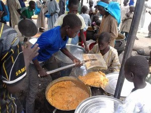 Shovel used to share food at IDPs camp in Maiduguri